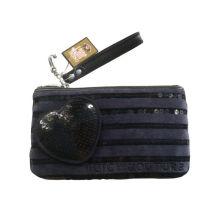 Reusable Jucy Navy Velet Fabric Wallet Bag With Sequin Lines, Plastic Zipper