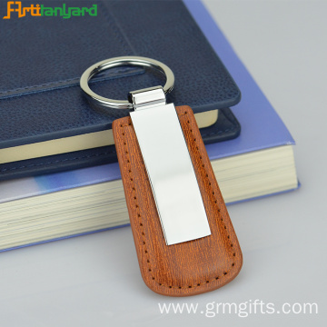 Brown Leather Keychain With Metal