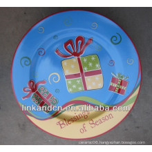 KC-02543blessing ceramic hand painted christmas plates,funny round flat pizza/cake plates