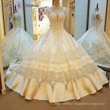 LS00107 capa manga o pescoço elegante sexy melhor tecido de renda vestido de bola vestidos de casamento de cauda longa
