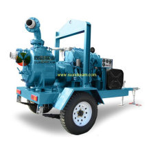 Ensemble de pompes à eau à moteur glissé avec 4 roues Remorque