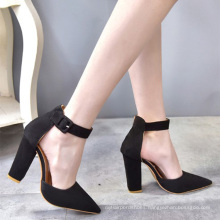 high quality block high heel pointed toe suede ankle pumps women shoes