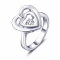 Double Heart Dancing Jóias de diamante 925 Silver Rings