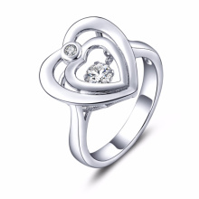 Double Heart Dancing Diamond Jewelry 925 Silver Rings