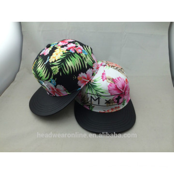 Custom Flower Leaves 3D Embroidery Snapback Caps and hat