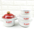Enamel pot and enamel bowl sets with shiny design