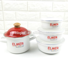 Enamel pot and enamel bowl sets with shiny design