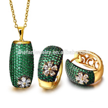 Hot sale factory direct price customized green AAA CZ 18k gold plating jewelry set
