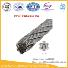7x19 Hot Dip Galvanized Steel Cable Wire Rope 3/8 Steel Cable Wire