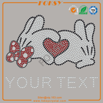 Cartoon Heart Your Text presse à strass