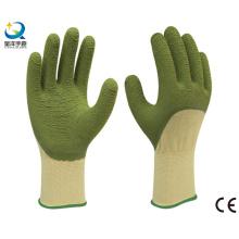 13G Poliester Liner Latex 3/4 guantes de trabajo revestidos, acabado de olas