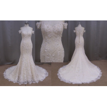 off Shoulder Champagne Color Applique Sexy Bridal Dress