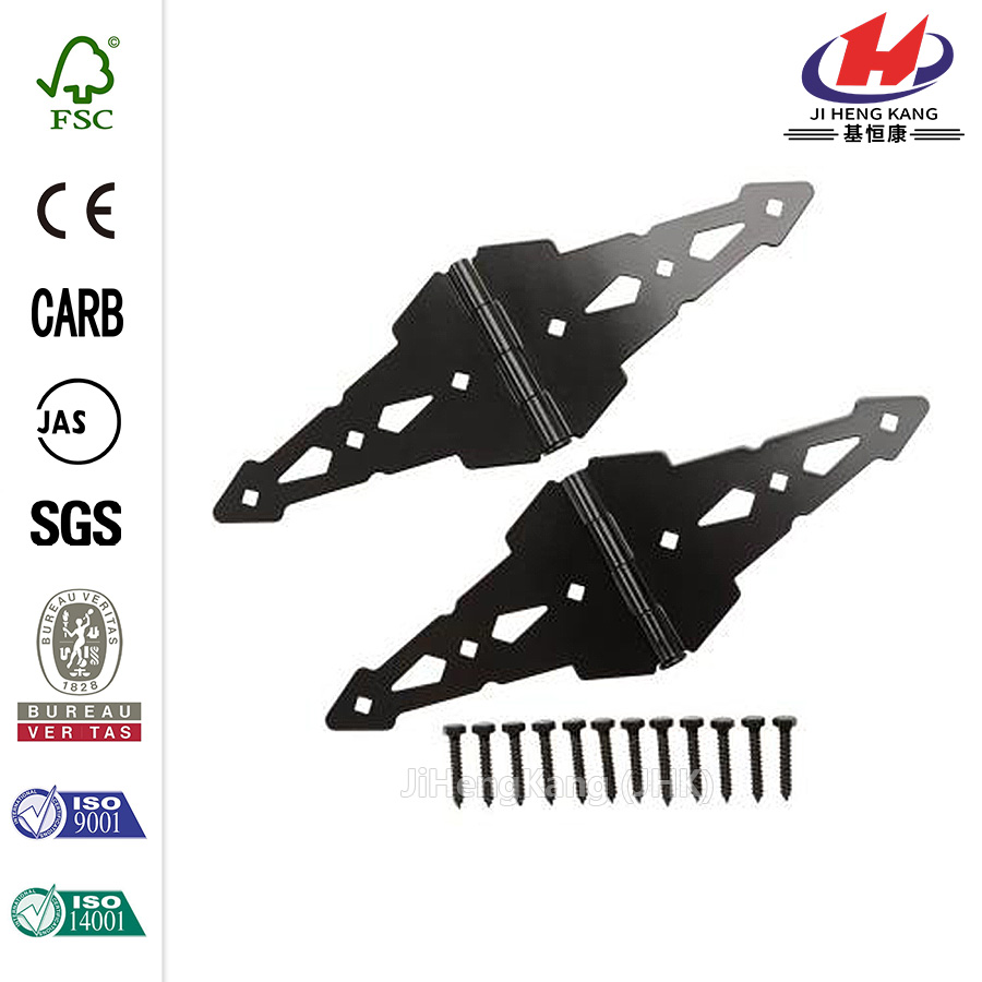 Black Heavy Duty Decorative Strap Hinges