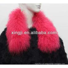 cor tingida colar de ovelhas da Mongólia para jaqueta