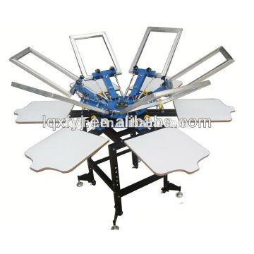 Máquina de impresión manual de la pantalla de la camiseta del color 8 y de la estación del carrusel 8 de la operación