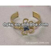 Aço inoxidável cirúrgico banhado a ouro sem bracelete de abertura tóxica