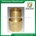 High qulity and low price zhejiang manufacture forged original brass color male threaded npt brass nipple tube fittings