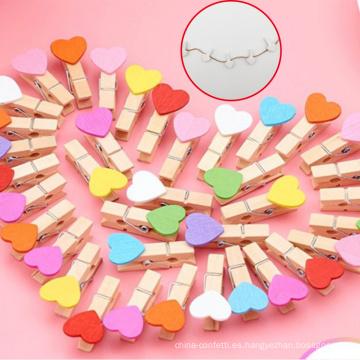 Hermosa Mini Photo Note Clip de madera con corazón