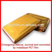 Tenda / cobertor de sobrevivência de poliéster de cor dourada