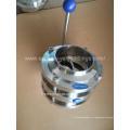 Санитарная нержавеющая сталь ручной сварной 3-х портовый клапан-бабочка