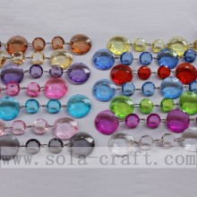 Clear Faceted Round Beaded Curtain Strings Mix Color