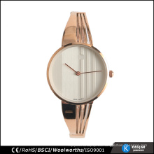Reloj de pulsera de señoras acero inoxidable caso de la parte trasera hebilla, fabricante de relojes de moda en Shenzhen