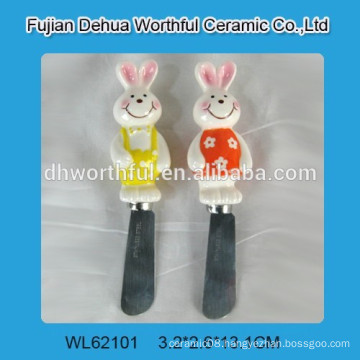 Kitchen ceramic butter knife with rabbit handle