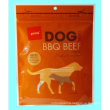 Saco plástico do empacotamento de alimentos para animais de estimação do zíper