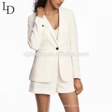 Современные вечерние белые женщины дамы офис костюм куртка