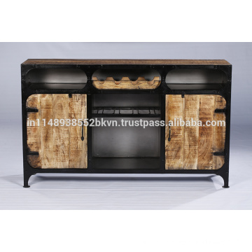 Industrial Vintage Metal and wood Sideboard with bottle holders