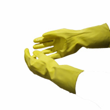 NMSAFETY gants de latex ménagers doublés de coton jaune