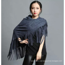 Lady Fashion 100% Polyester Wildleder Nap Fringe Schal (YKY4433)