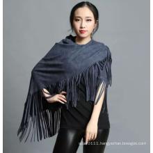 Lady Fashion 100% Polyester Suede Nap Fringe Shawl (YKY4433)