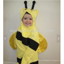 Toalha com capuz de abelha - abelha amarela com listras pretas e antenas, 100% algodão