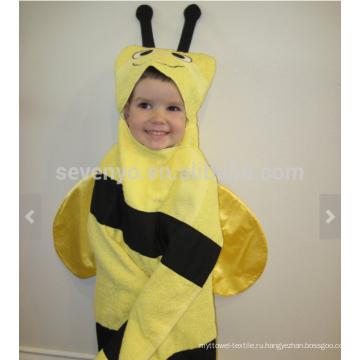 Пчела полотенце с капюшоном - желтая Пчелка с черными полосками и усиками, 100% хлопок