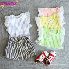 Baby Striped Breathable T-shirts, Girl O Neck Short Sleeve T-shirts