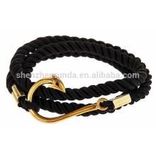 Großhandelsmann-Art- und Weisezusätze reiner handgemachter Seil-Armband-Anker mit Goldfisch-Haken-Armband NauticalJewelry