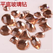 Champagne Flat Back Glass Stones Beads for Decoration