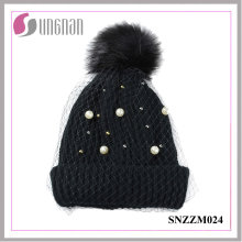 2016 Fashion Pearl Ladies Temperament Mesh Knitted Hats (SNZZM024)