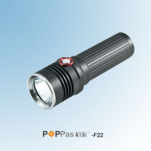 Réglage automatique de la luminosité Ipx6 350lumens CREE Xm-L U2 LED Rechargeable Noir Aluminium LED Lampe de poche Poppas -F22
