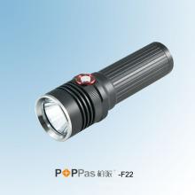 Автоматическая регулировка яркости Ipx6 350 люменов CREE Xm-L U2 светодиодный перезаряжаемый черный алюминиевый светодиодный фонарик Poppas-F22