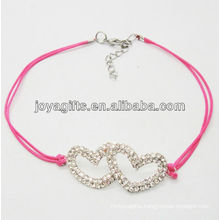 Rose wire diamante double heart alloy woven bracelet