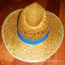 Sombrero de vaquero de la paja del diseño con la gorra del sombrero de la impresión del logotipo