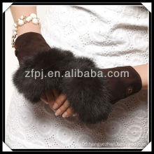 2013 new arrival suede palm fur fingerless glove