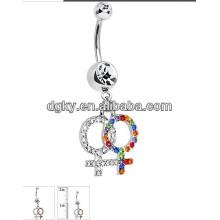 Novo design barriga correntes corpo piercing jóias umbigo anel