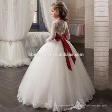 Großhandelskindergeburtstags-weißes Fußboden-Längen-Spitze-Mädchen-Kleid Tüll-Blumen-Mädchen-Kleid mit rotem Bowknot für Hochzeit