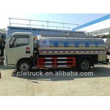 Envoi en usine Euro III ou Euro IV Dongfeng 5m3 camion citerne à lait en acier à vendre