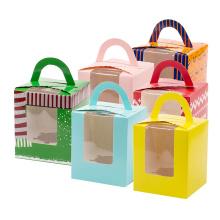 Luxus-Kuchen Verpackung Kraftpapier Box mit Griff