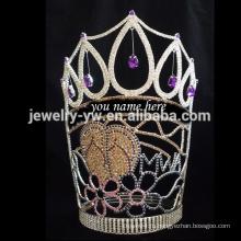 Оптовые тиары моды могут написать ваше имя большой высокий кристалл конкурс короны
