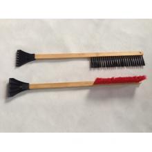 Wooden Handle Snow Brush with Scraper